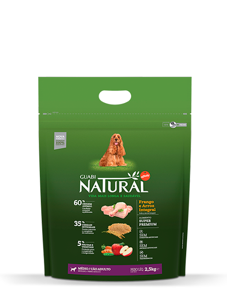GN-Cereais-Integrais-Cão-Adulto-Médio-Sabor-Frango-e-Arroz-Integral-2,5kg-FRONTAL